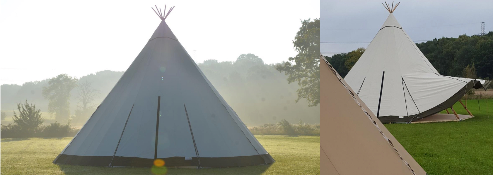 White and tan wedding tipi hire
