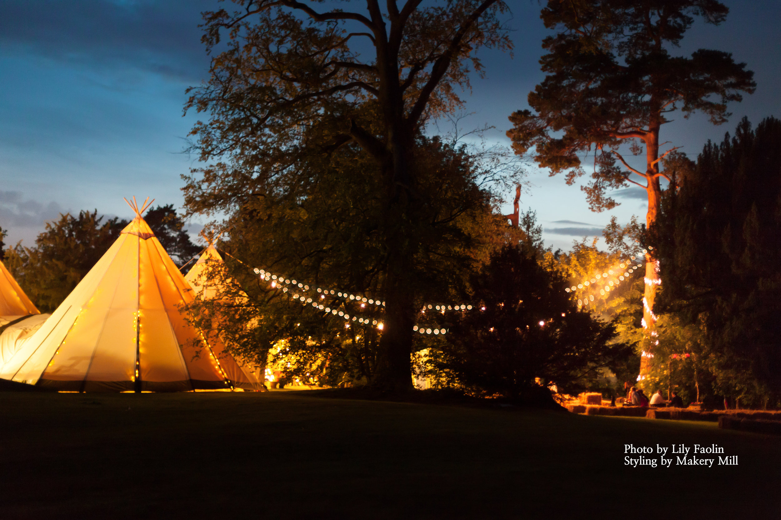 Tipi Wedding festival lighting