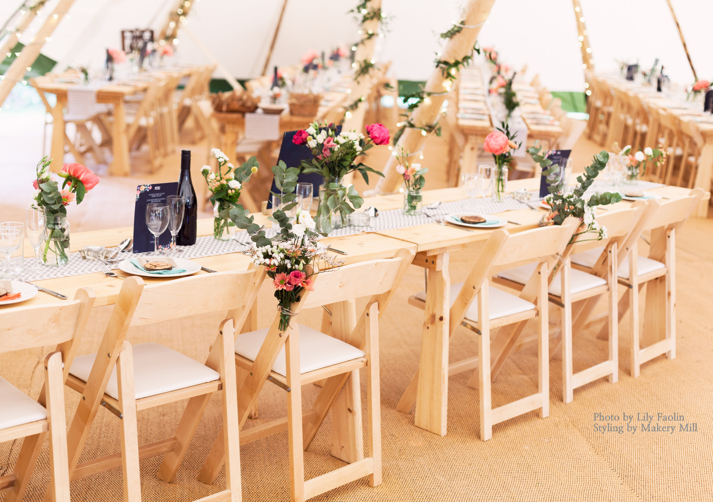 Rustic tipi furnishings