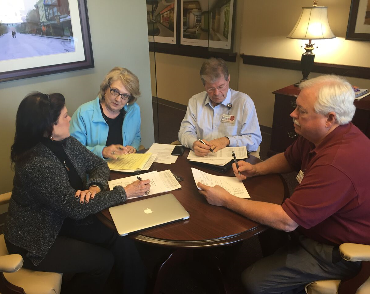 Vision Philanthropy Group consultants, Susan Holt and Jane Ferrell, meet with staff at Williamson Medical Center in Franklin, TN to customize a Bold Asking® retreat.