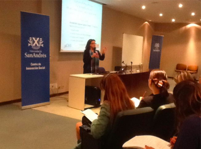 Susan speaks to a workshop on hospital culture of philanthropy at the San Andres Univeristy in Buenos Aires, Argentina.