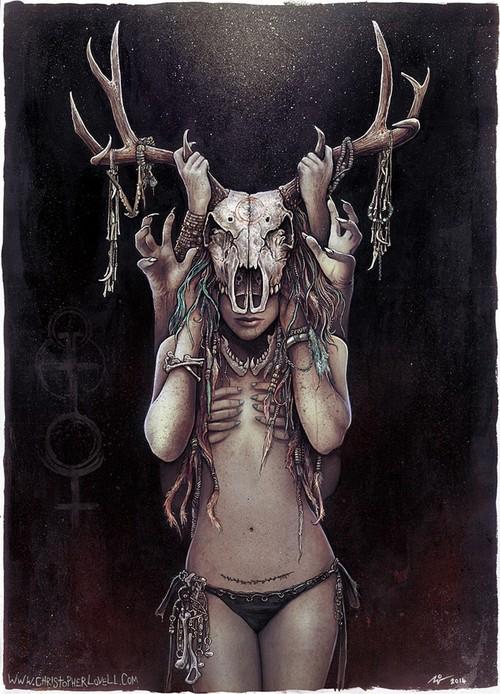christopher_lovell_horned_goddess_dark_nature.jpg