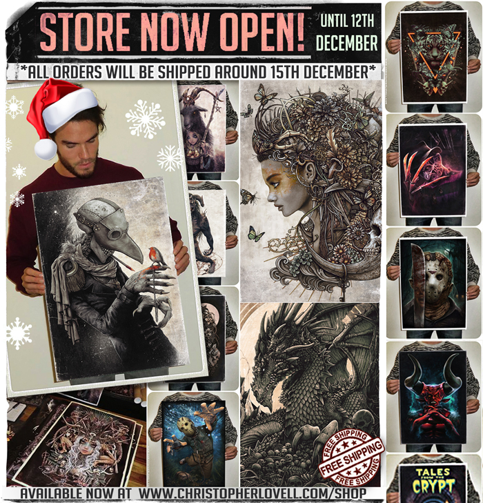 ✨  MY STORE IS OPEN AGAIN UNTIL 12th DEC!  ✨   *PLEASE NOTE!* All orders will be shipped around the 15th December. So sadly I can in NO WAY guarantee delivery before Christmas, especially to countries outside Europe. UK orders should arrive in good time though.   FREE worldwide shipping and every print is signed, packaged and sent by me personally.    LOADS of prints to choose from and three brand new ones just added. Hope you see something you or someone else may like!      http://www.christopherlovell.com/shop/