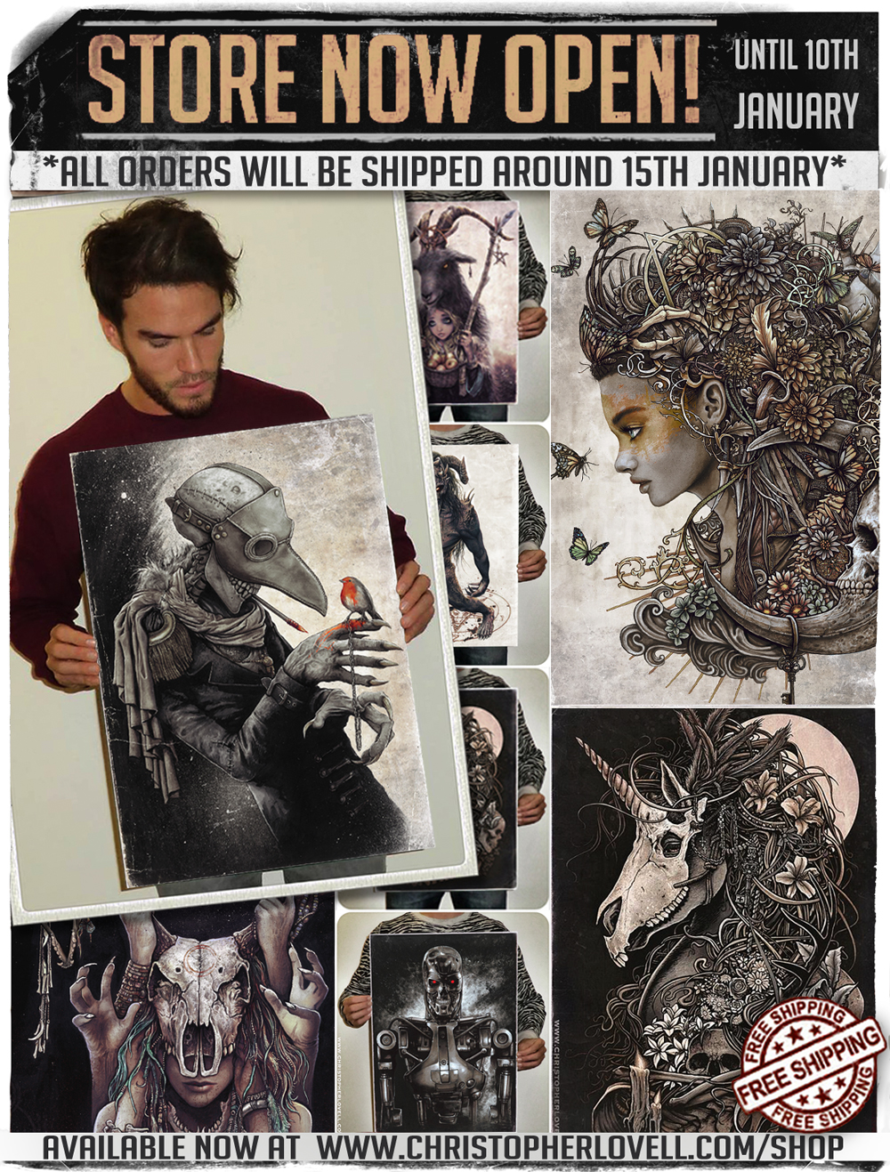 ✨  MY STORE IS OPEN AGAIN UNTIL 10th JAN!  ✨   *PLEASE NOTE!* All orders will be shipped around the 15th JANUARY.    FREE worldwide shipping and every print is signed, packaged and sent by me personally. ;)      LOADS of prints to choose from. Hope you see something you or someone else may like! O X    http://www.christopherlovell.com/shop/