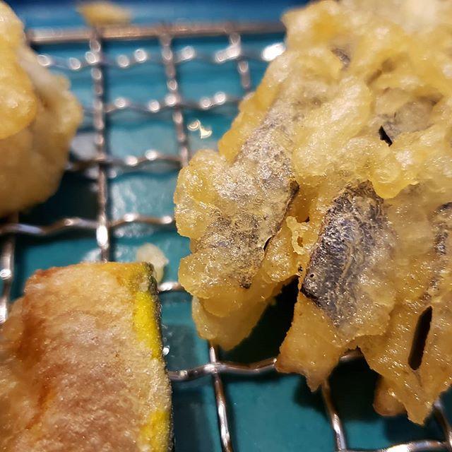 Nothing like perfect tempura. Eggplant, shrimp, pumpkin, and onion.