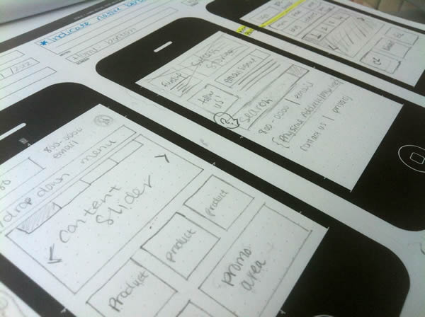 Early sketches on our awesome UX Stencils sketch pads.