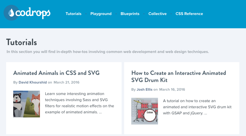Codrops  is a web design and development blog that publishes articles and tutorials about the latest web trends, techniques and new possibilities.