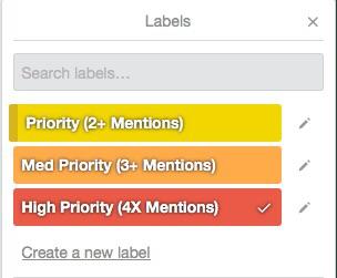 Priority labels in Trello, color coded.