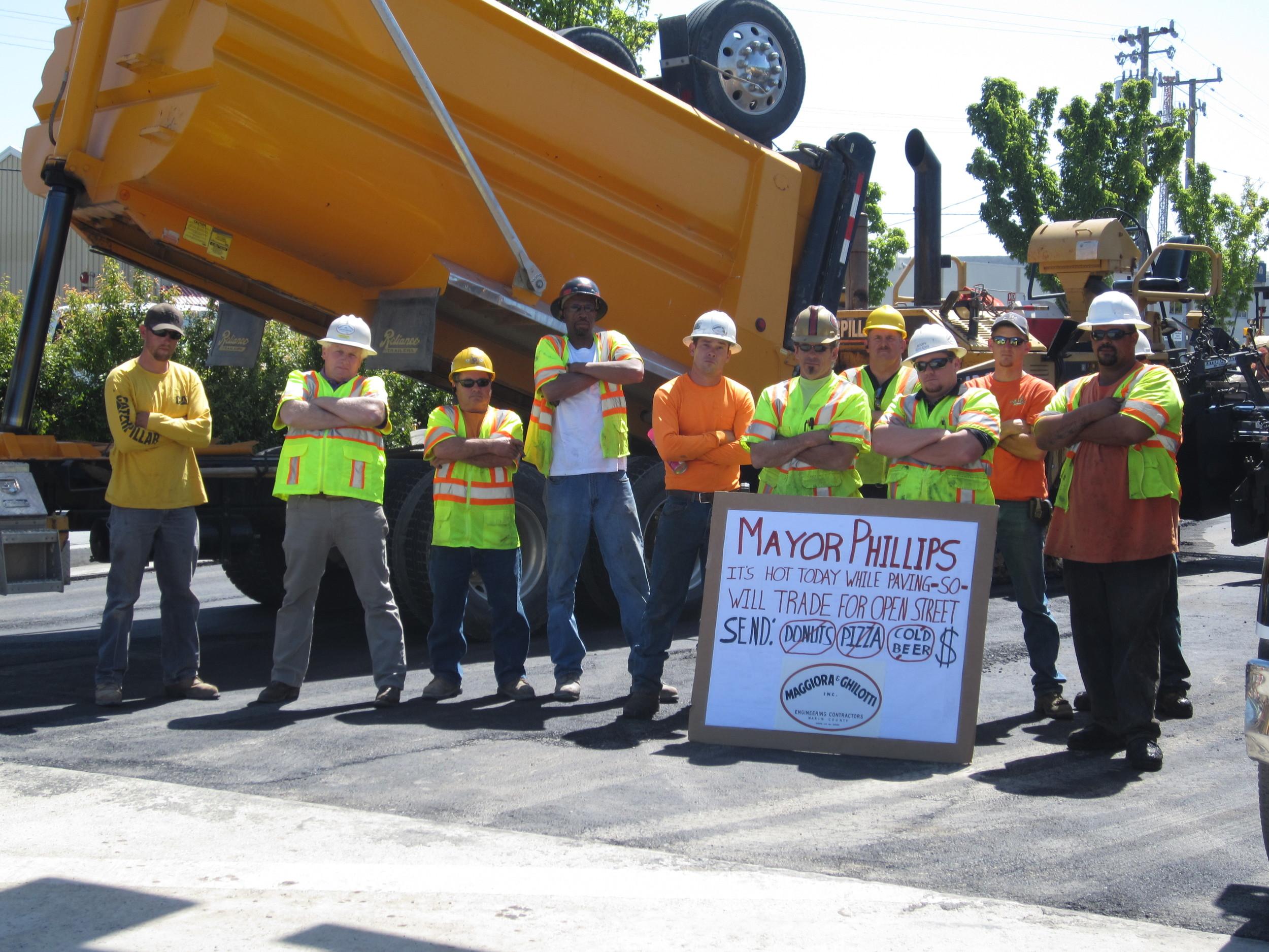 A little fun with the San Rafael Mayor paving Anderson Drive - San Rafael, CA