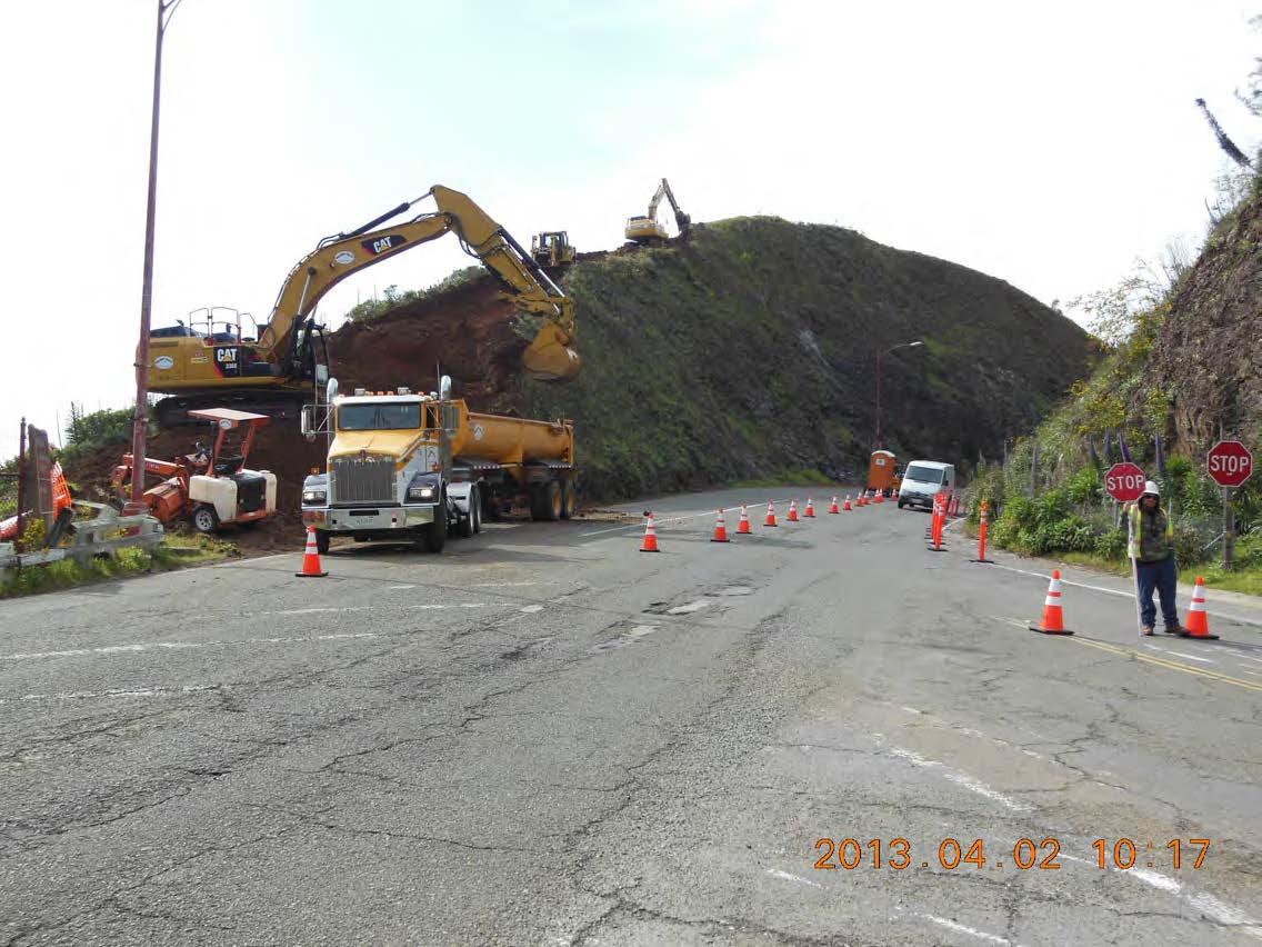 Alexander Avenue Second Day of Rock Slope Excavation