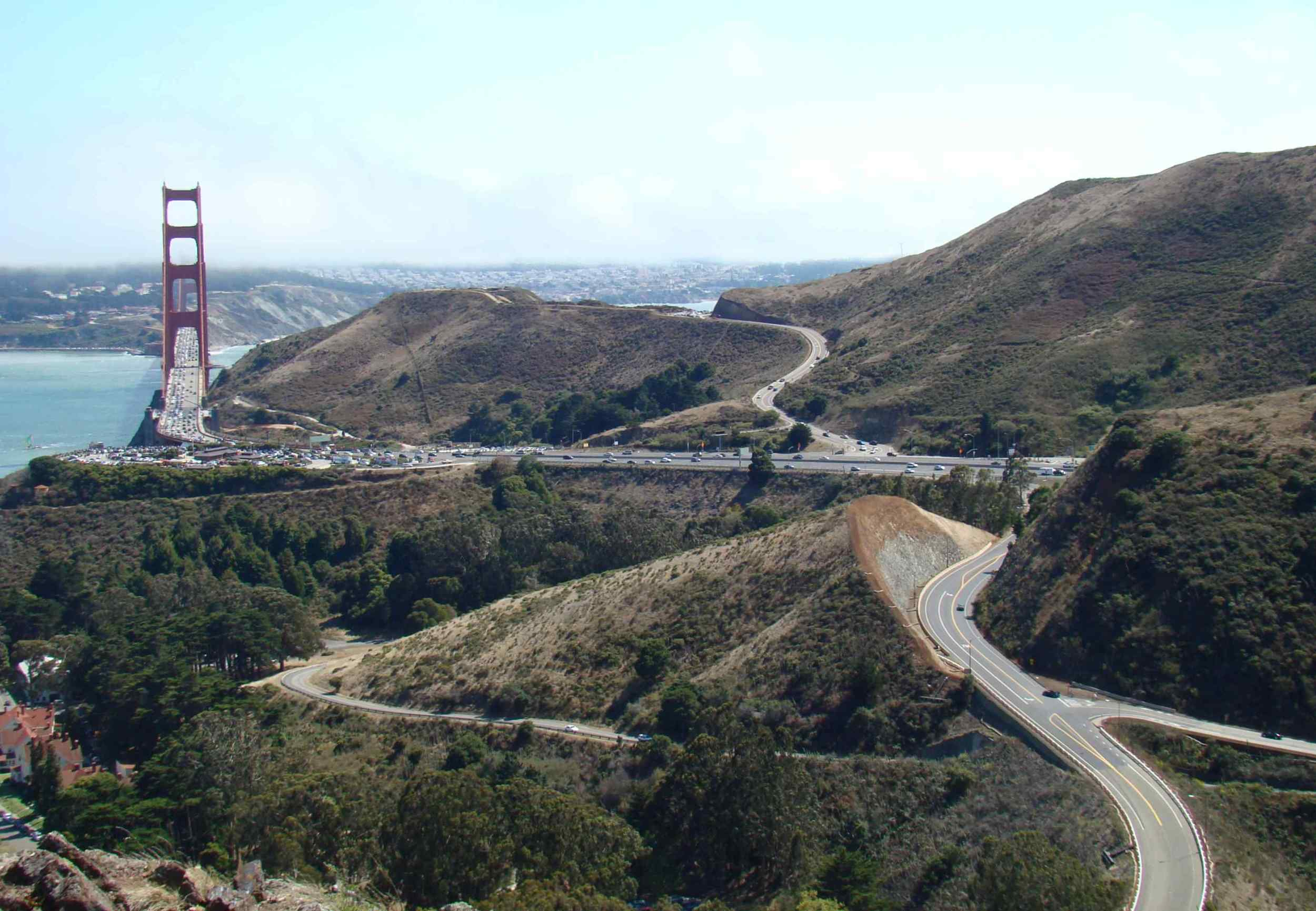 Completed Alexander Avenue Cut and MSE wall from above near Hwy 101 Waldo tunnels