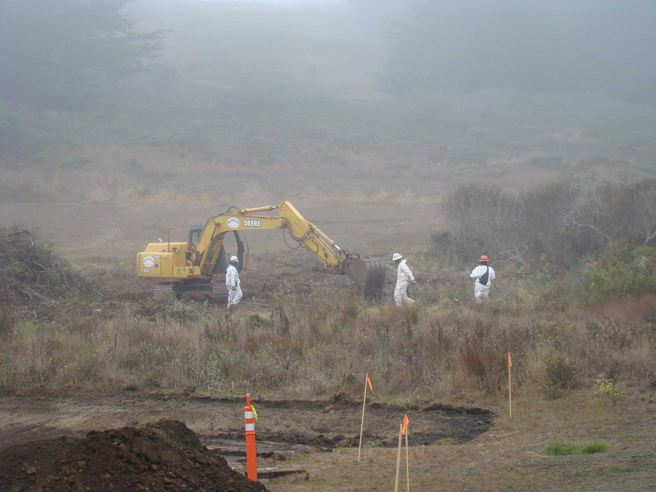 Clearing above Surfer Lot at Rodeo Beach for wetland restoration work