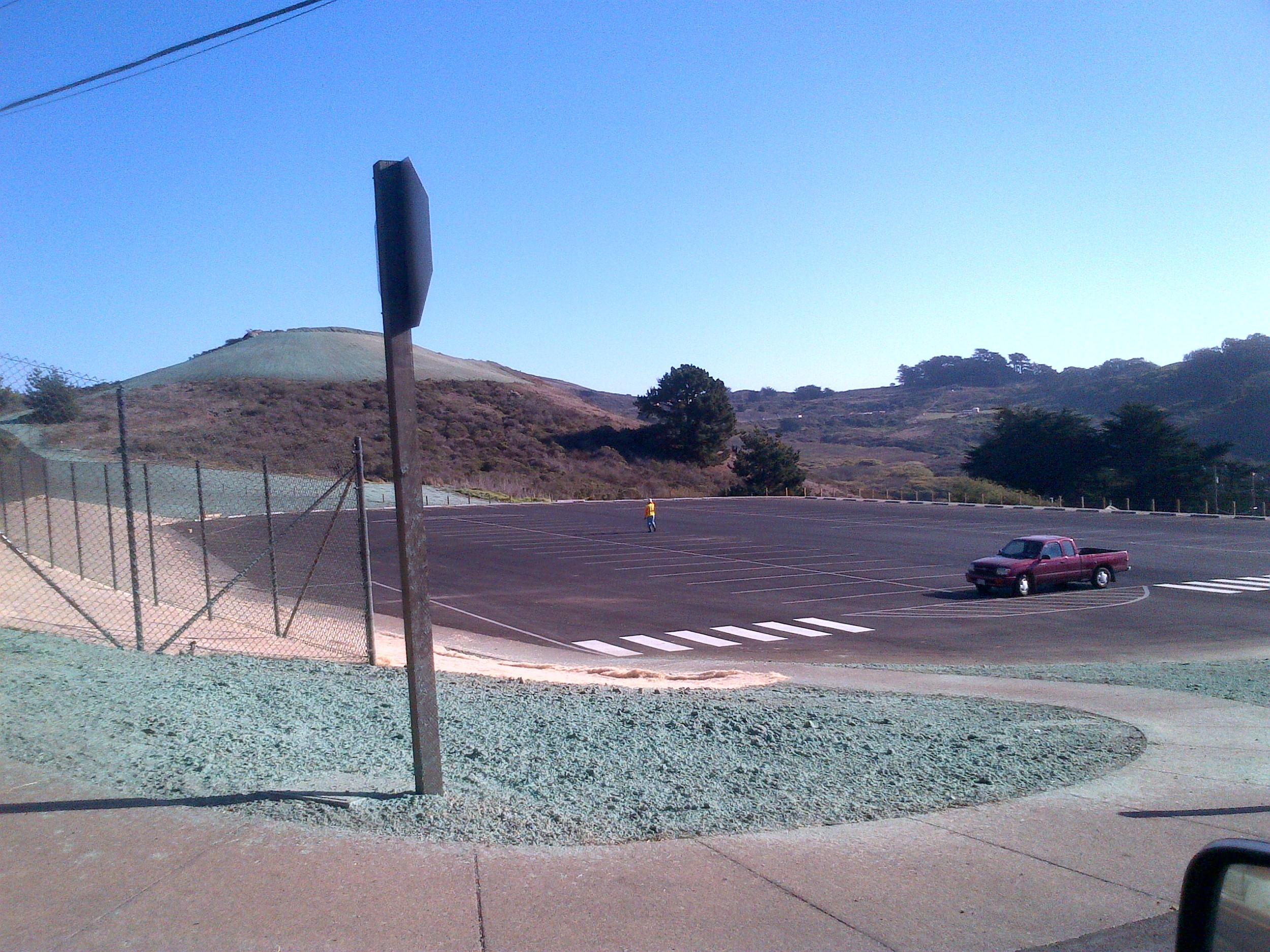 New Marine Mammal Center Parking Lot with restore quarry fill in background