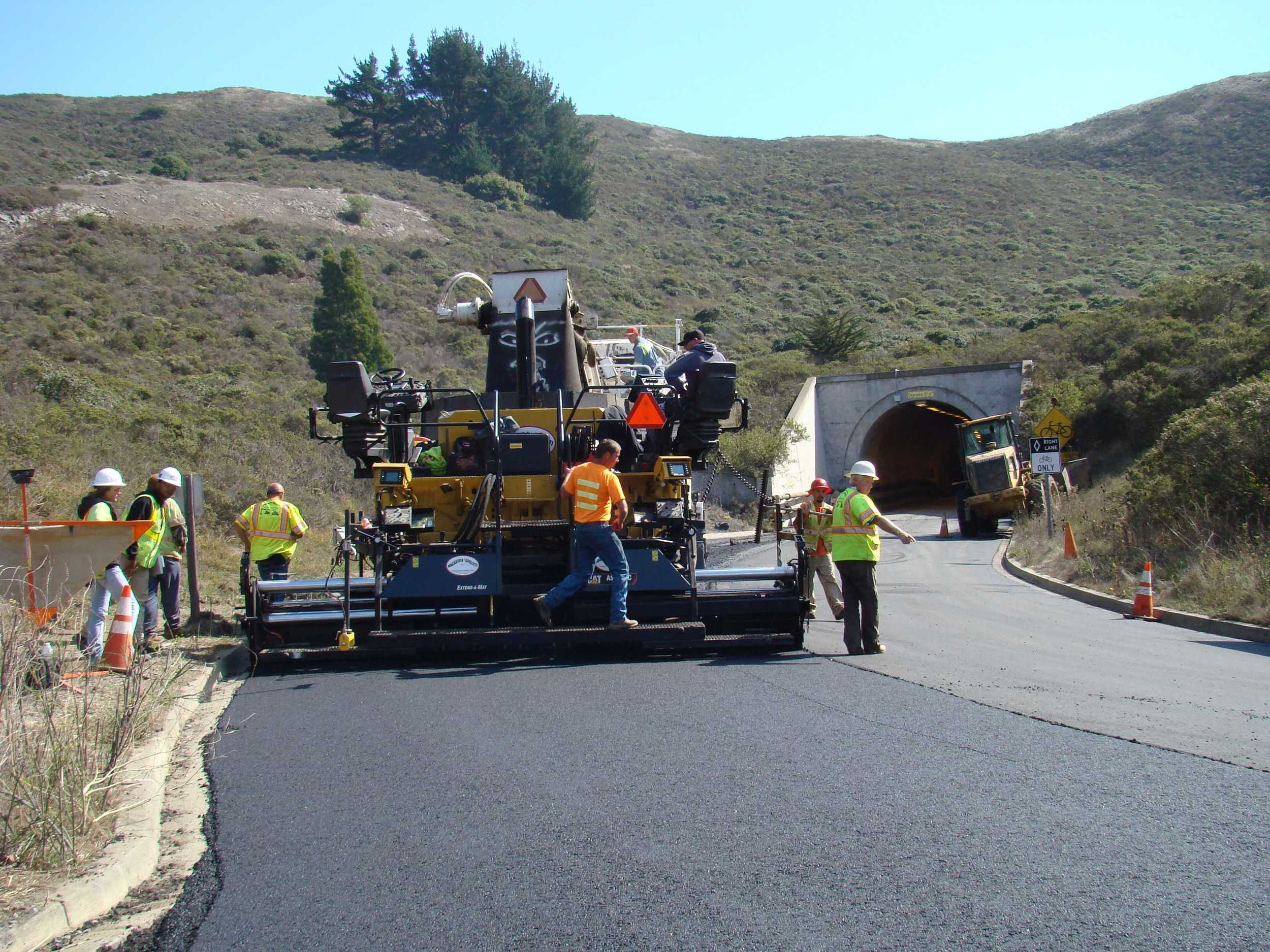 Finishing Paving approaching One Way Tunnel on Bunker Road