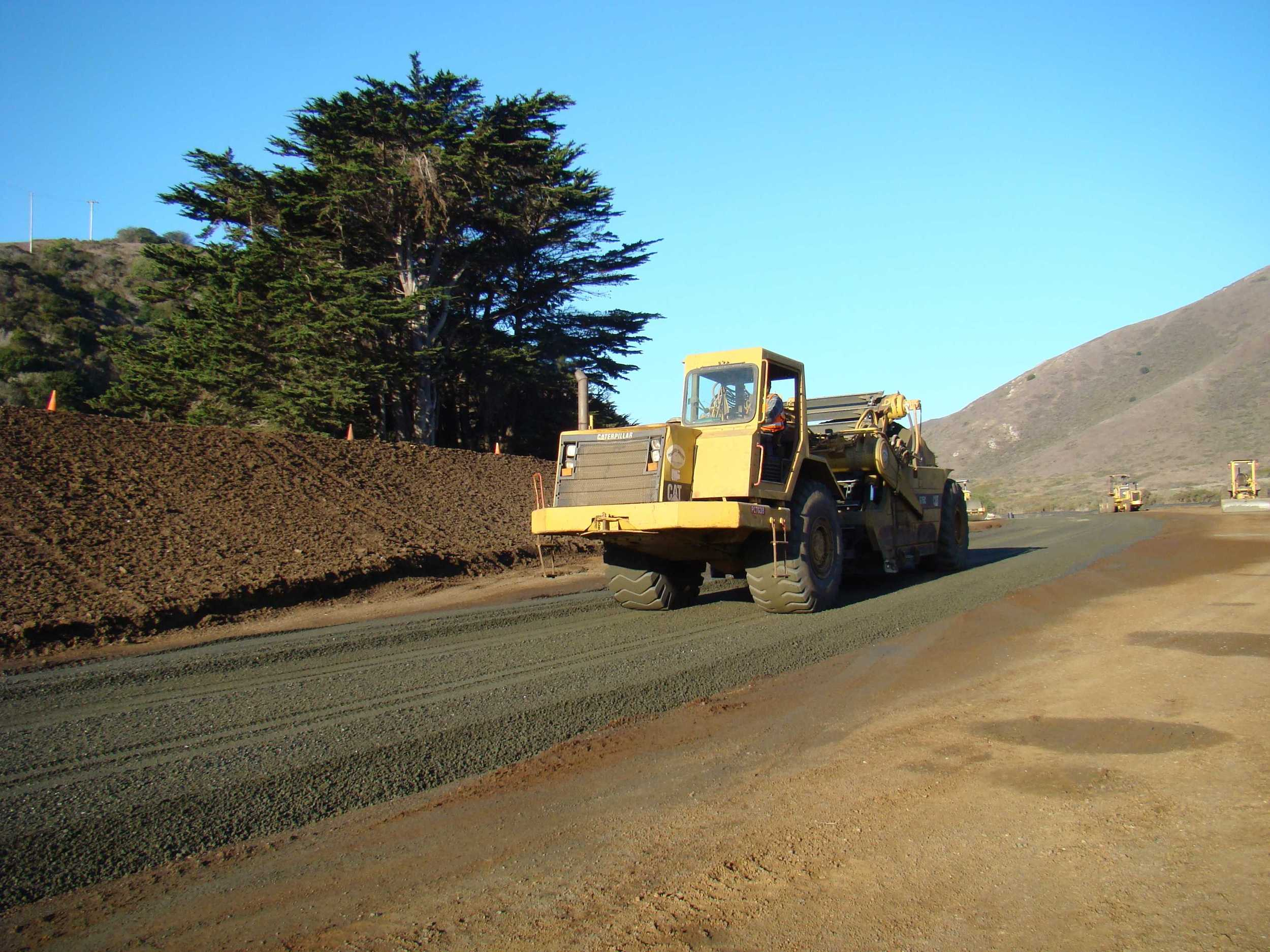 Paddle Wheel trimming base rock grade at new Parking Lot near Horse Stables