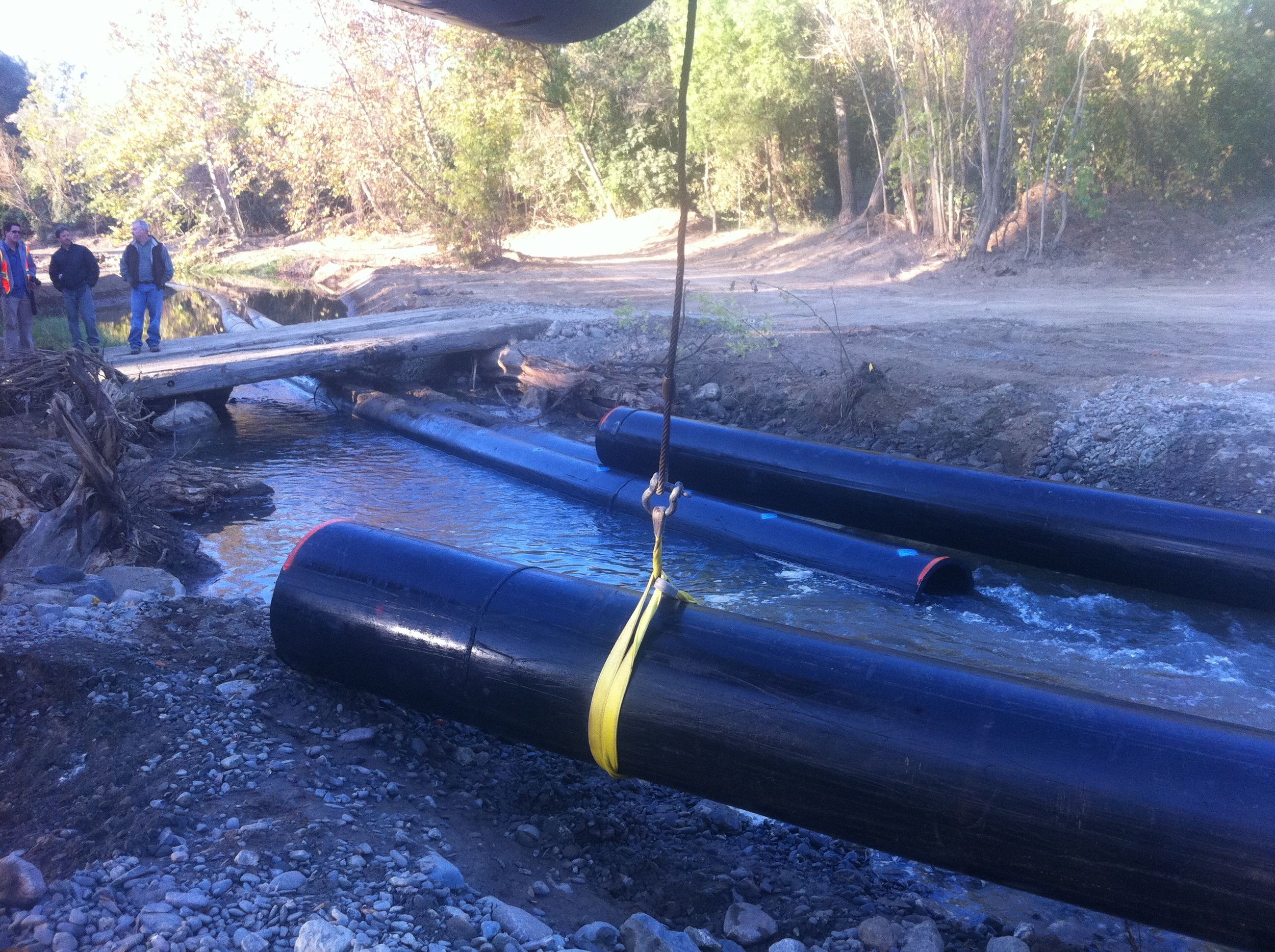 Removing Diversion pipes from creek