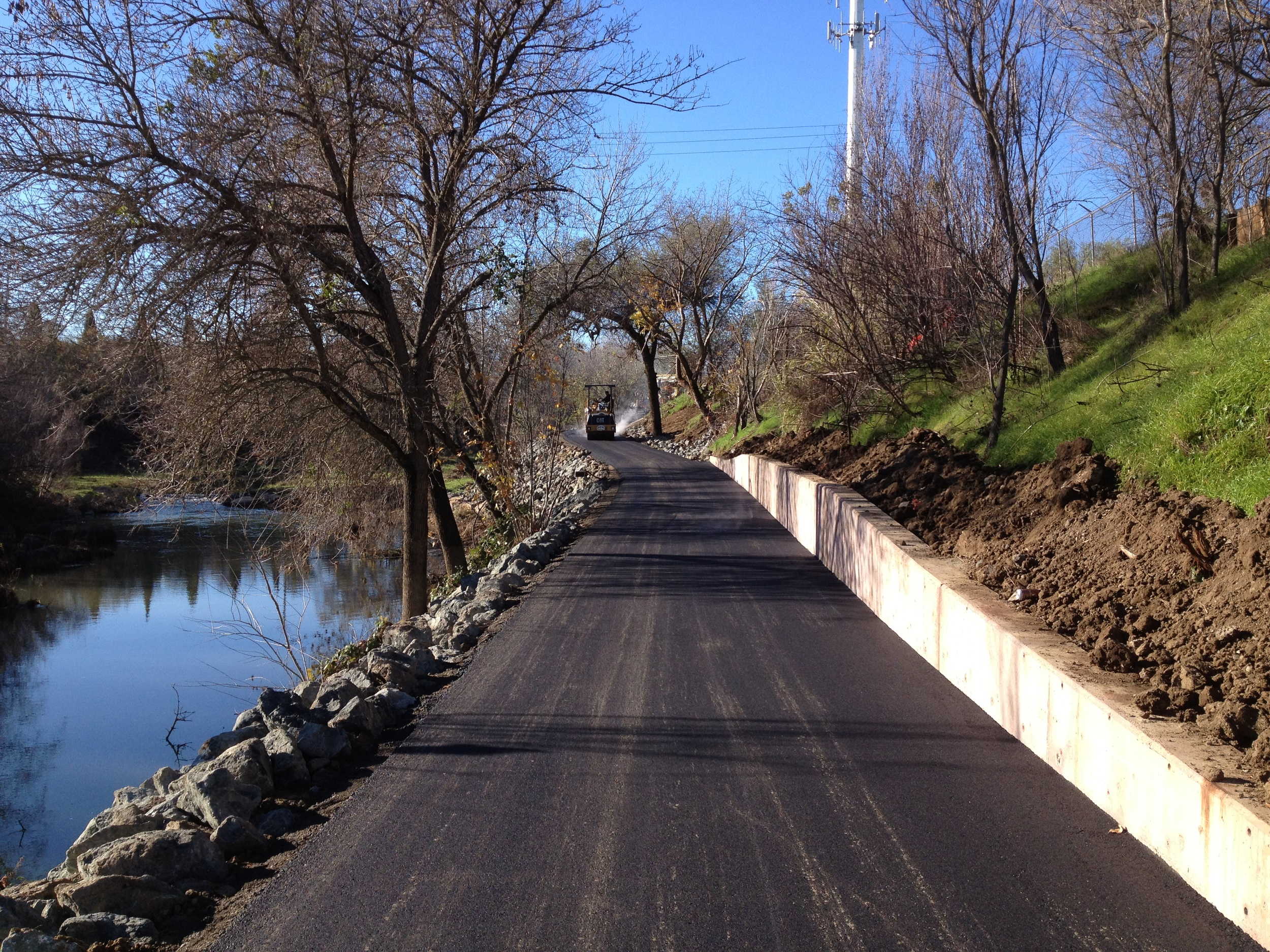 Fresh Pavement on new pathway adjancent to Putah Creek