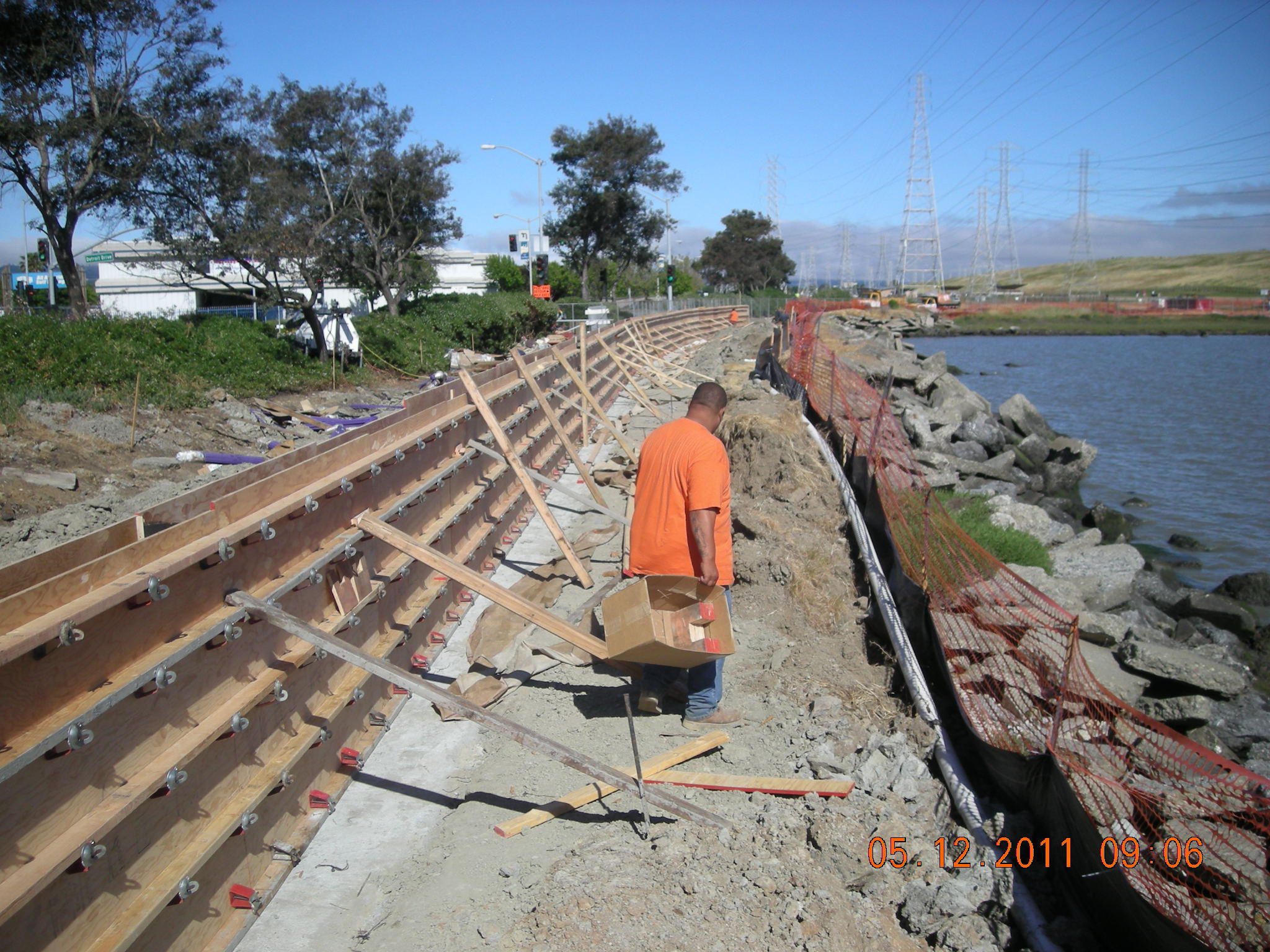 Cleaning up before big pour of floodwalls at Seal Point Park