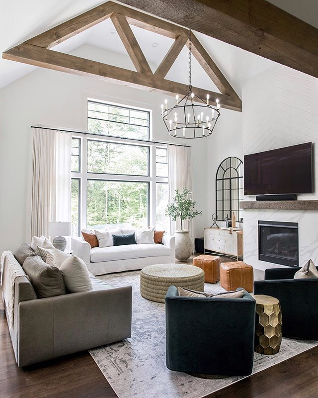 I could spend all Sunday in this living room! There is so much to look at! It's so hard for me to pick a favorite detail, I love it all, the black  framed windows, fireplace detail, beams, furnishings. What's your favorite? | pc @wearefreebird | Design @ginabaran |builder Depietro Homes | contractor assist | @Mollabuilders #interiordesign