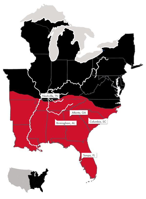 Map of Coeclerici Coal Network's customers in the Southeastern US