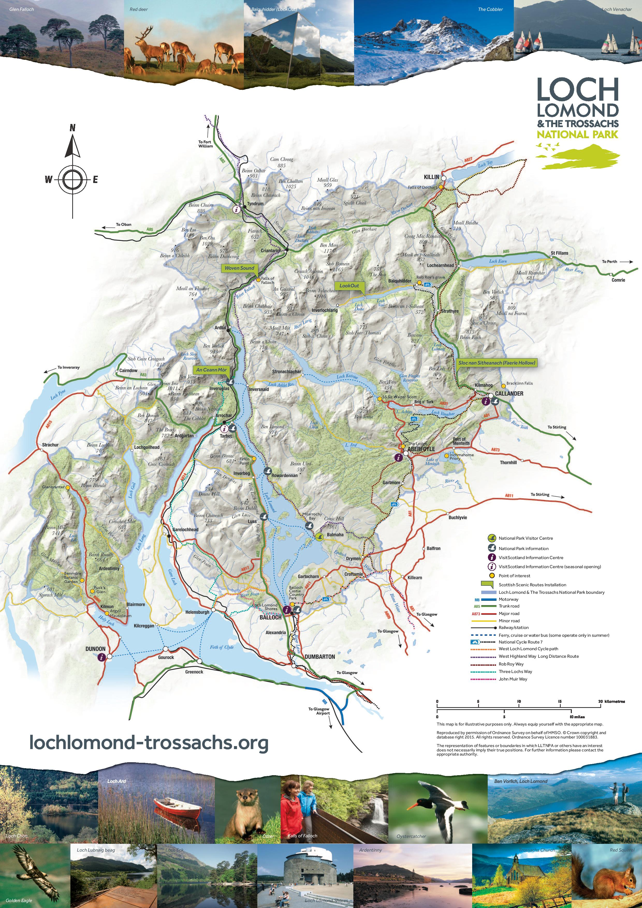 Map of Loch Lomond and the Trossachs National Park