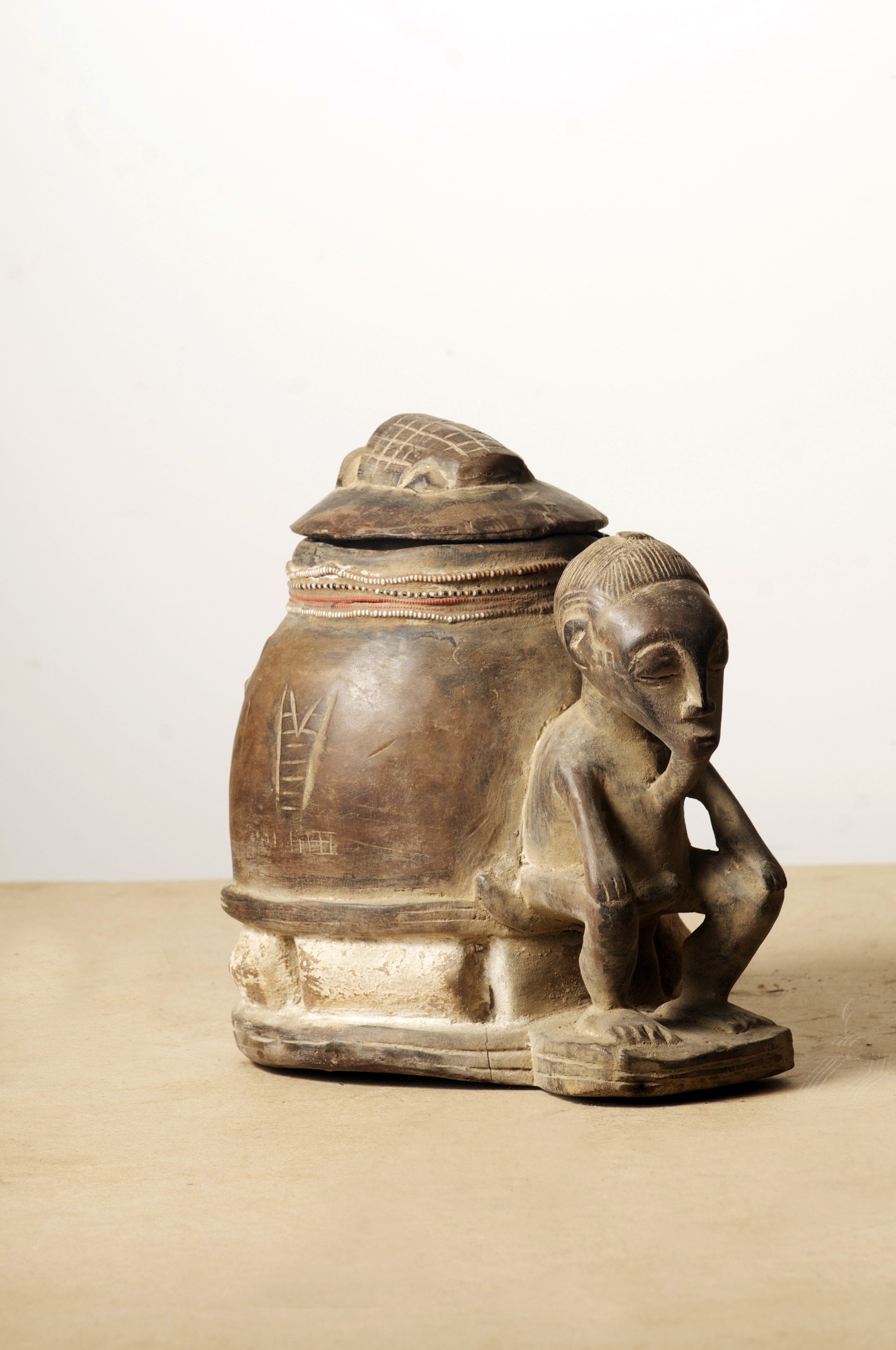 Baule Pot with a man. Cote D'ivoire. Height 15.4 inch.Pp. $350.00.jpg