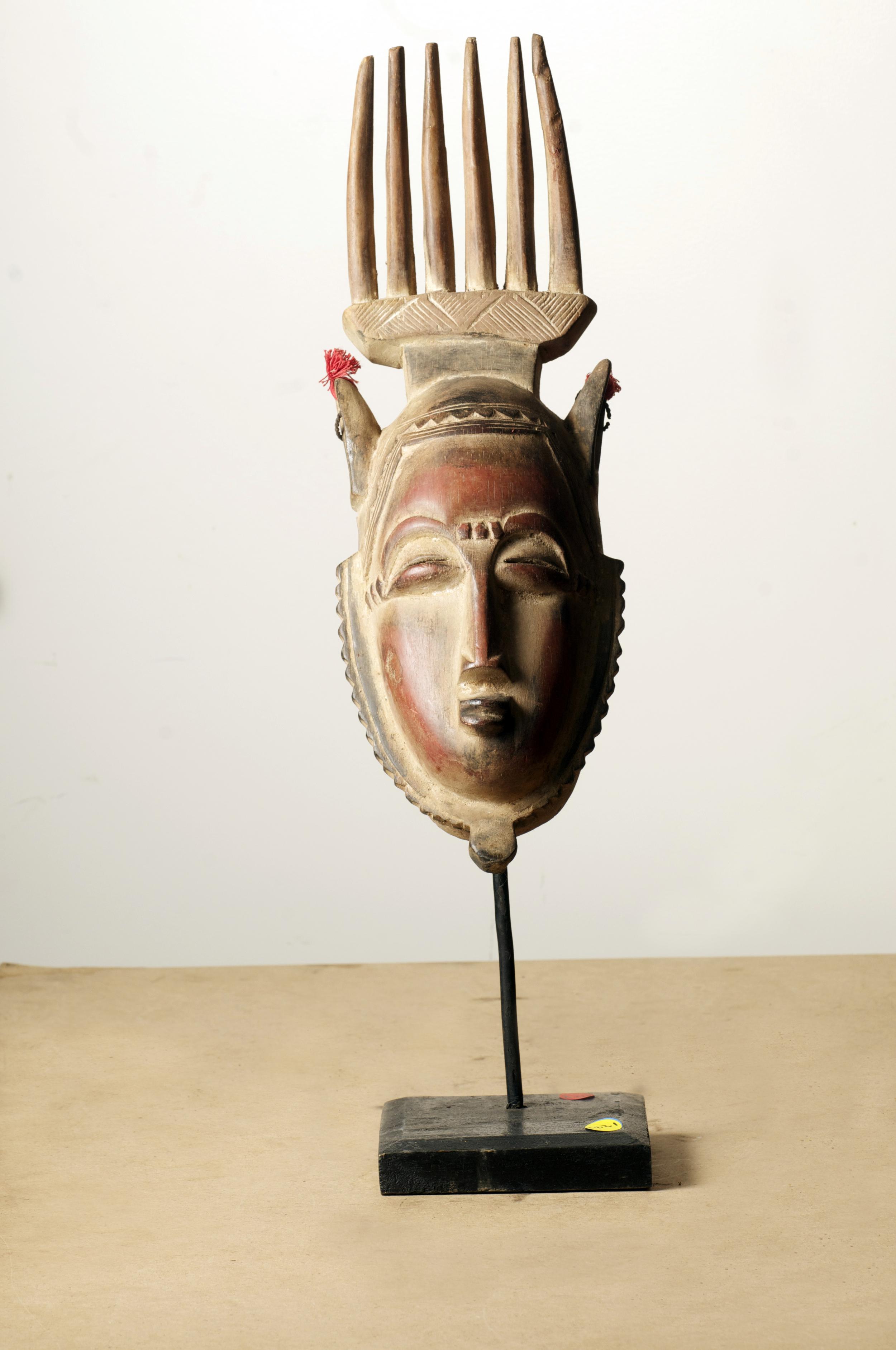 Baule Yaure Comb Mask, Cote D'Ivoire, Height 18.7inch. Pp. $218.00.jpg