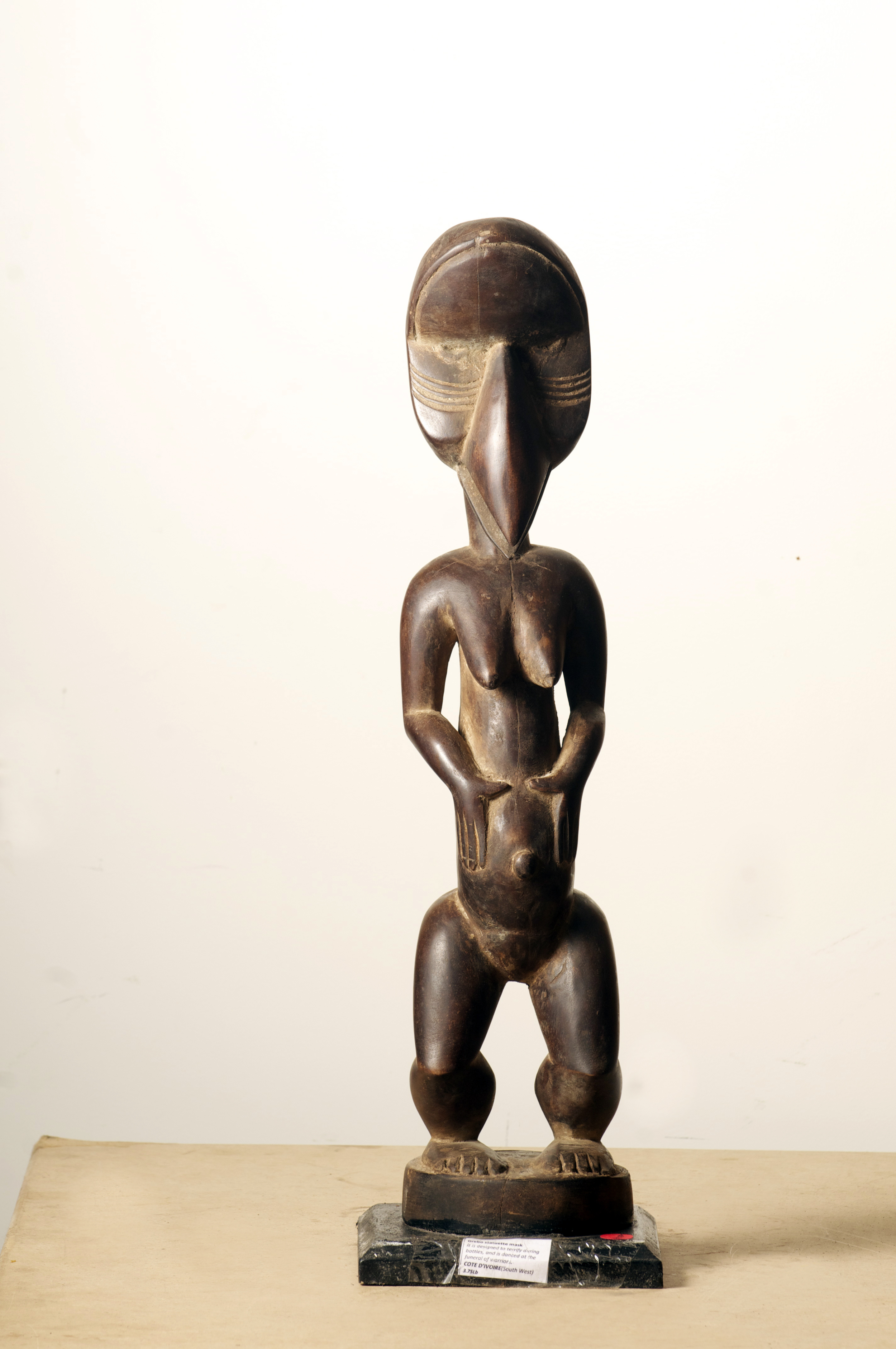 Grebo figure beeck, Cote D'ivoire. Height 26.3 inch.Pp..jpg