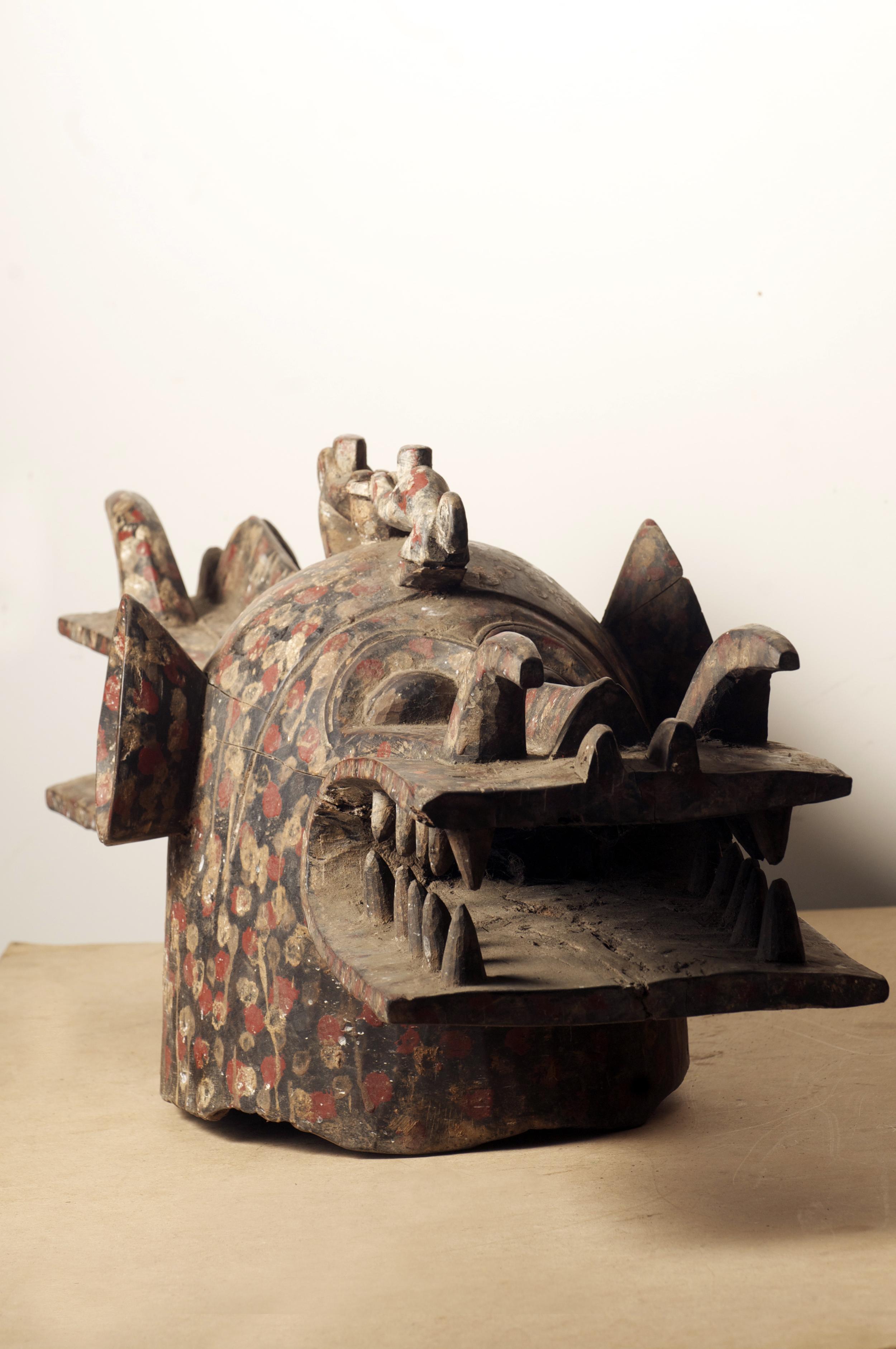 Senufo Wambele Mask, Cote D'Ivoire. L 42.2inch x height 16inch.jpg