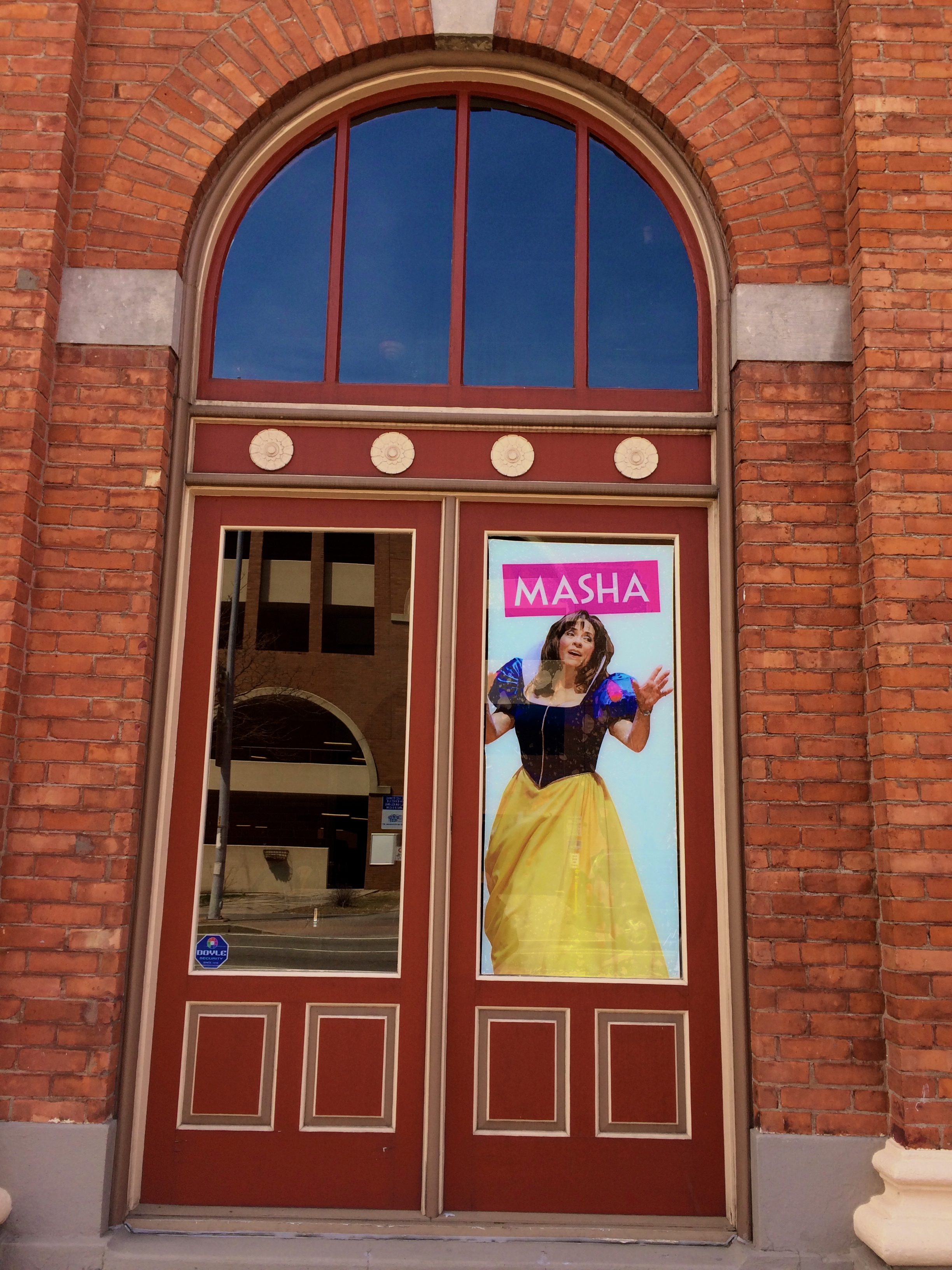Outside the cafe in the window of GevaTheatre.org. #VanyaAndSoniaAndMashaAndSpike opening May 9, 2015.