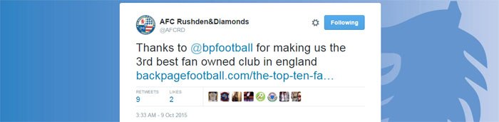 Tweet - AFC Rushden & Diamonds
