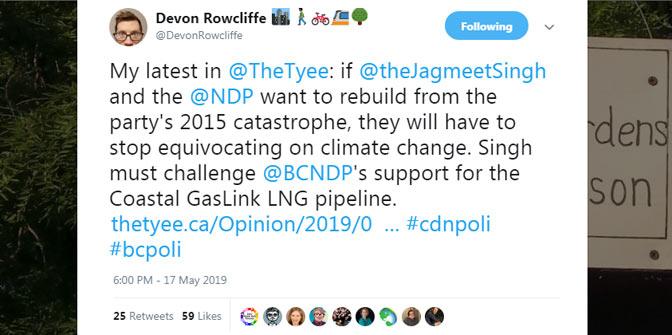 Twitter post by Devon Rowcliffe