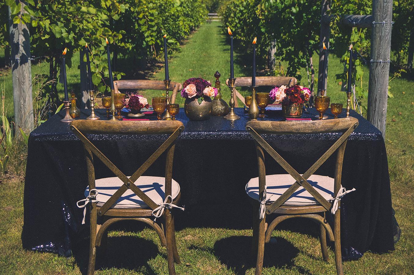 fall vineyard glam wedding