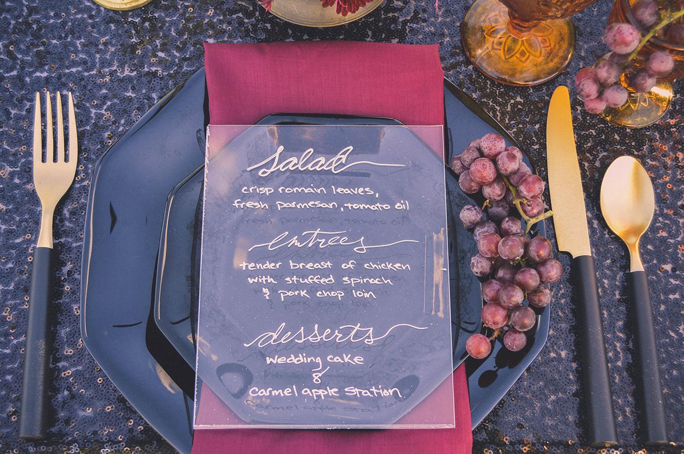 calligraphy on plexiglass wedding sign