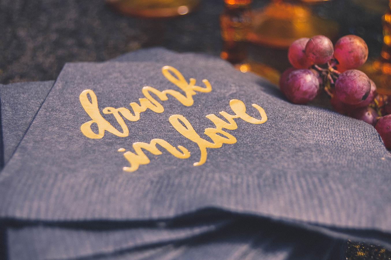 drunk in love beverage napkins calligraphy gold foil beverage napkins