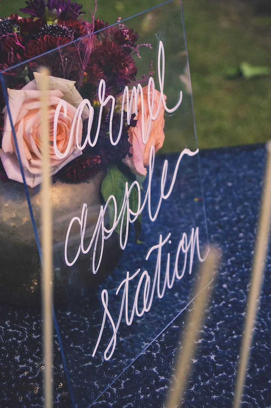 carmel apple station wedding dessert table fall wedding dessert table