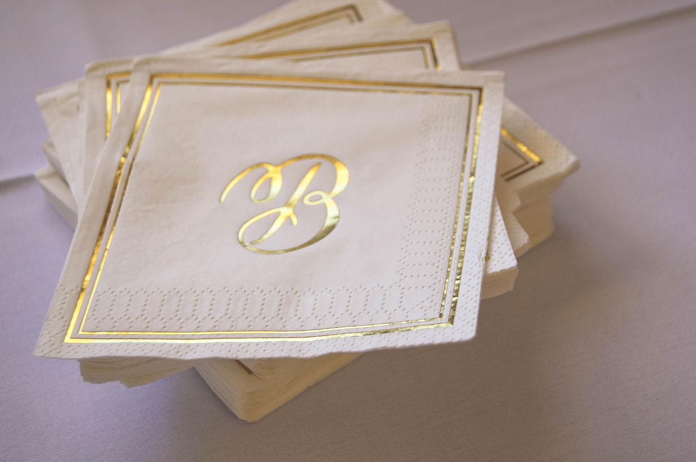 gold wedding white gold wedding decor calligraphy beverage napkins wisconsin madison, wi
