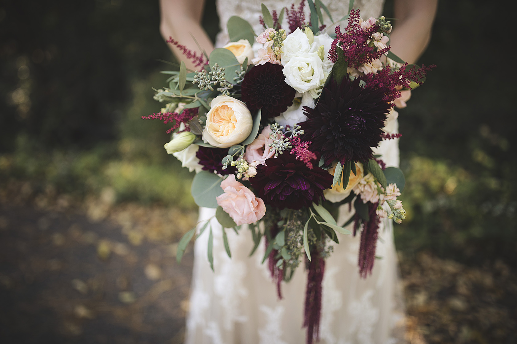fall wedding bouquet floral blooms marsala blush