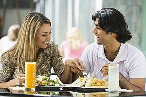 Couple enjoying lunch at cafe