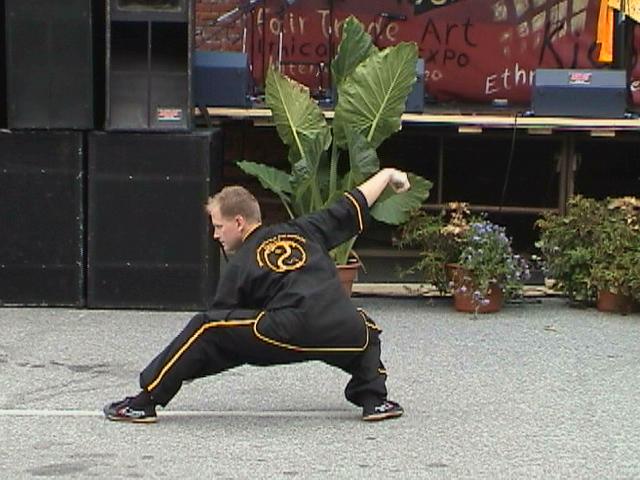 Snakes Creeps Down (low single whip) Taijiquan demo - circa 2006