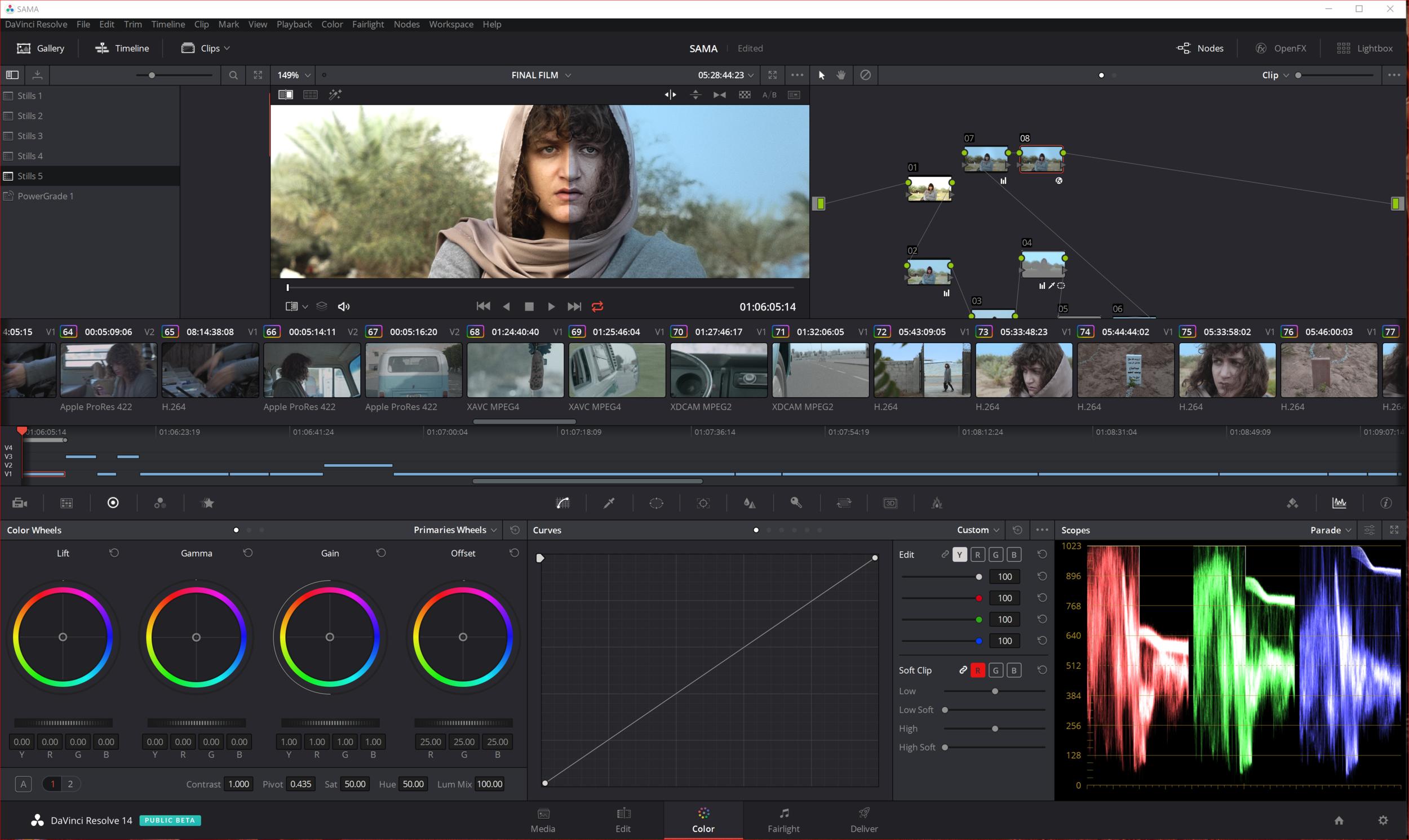 "Short film ""SAMA"" graded in Davinci Resolve 14 Beta."