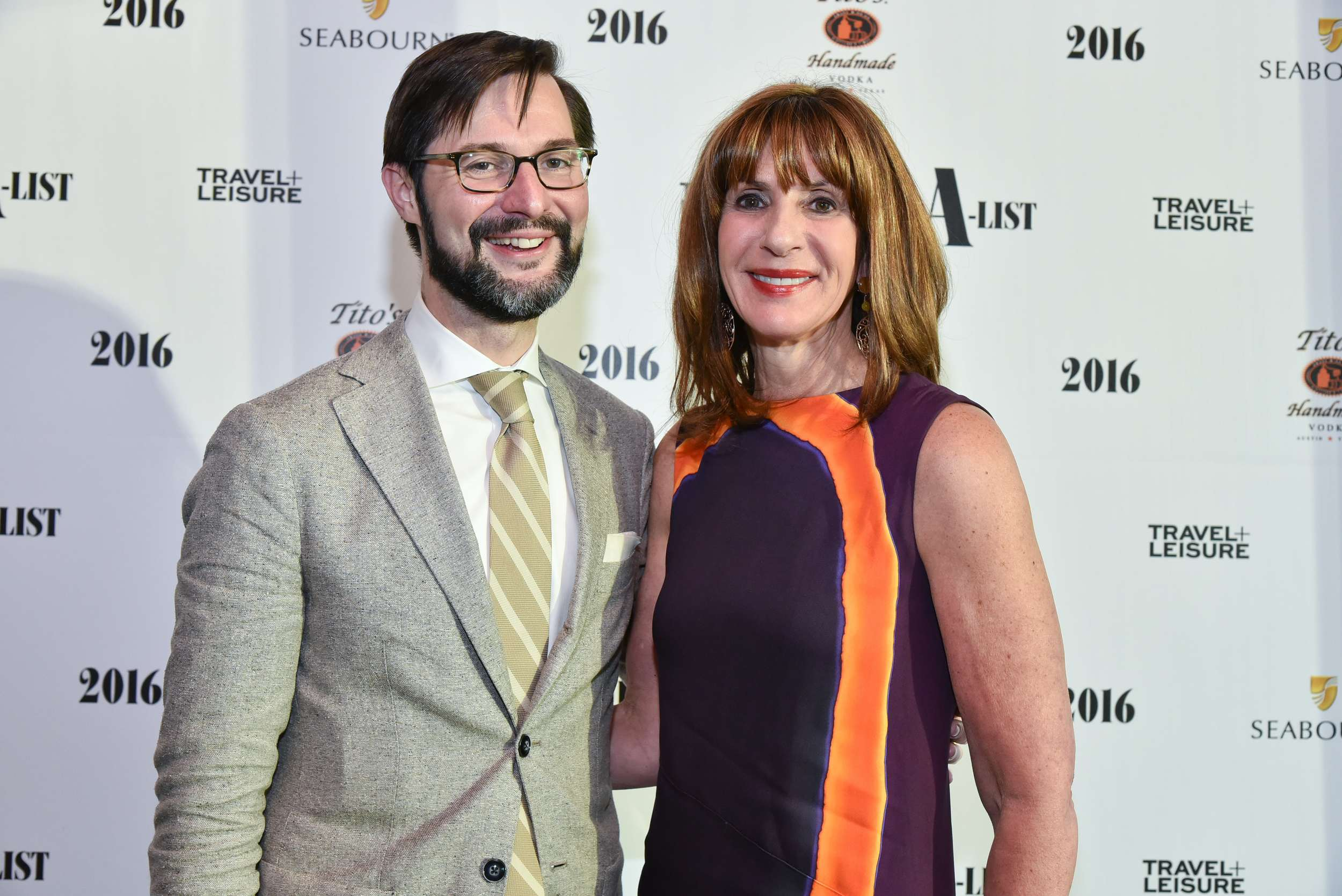 Susan Sparks with Nathan Lump, Editor,Travel + Leisure at the 2016 Travel + Leisure A-List reception August 9th during Virtuoso Week at Hyde Bellagio in Las Vegas.
