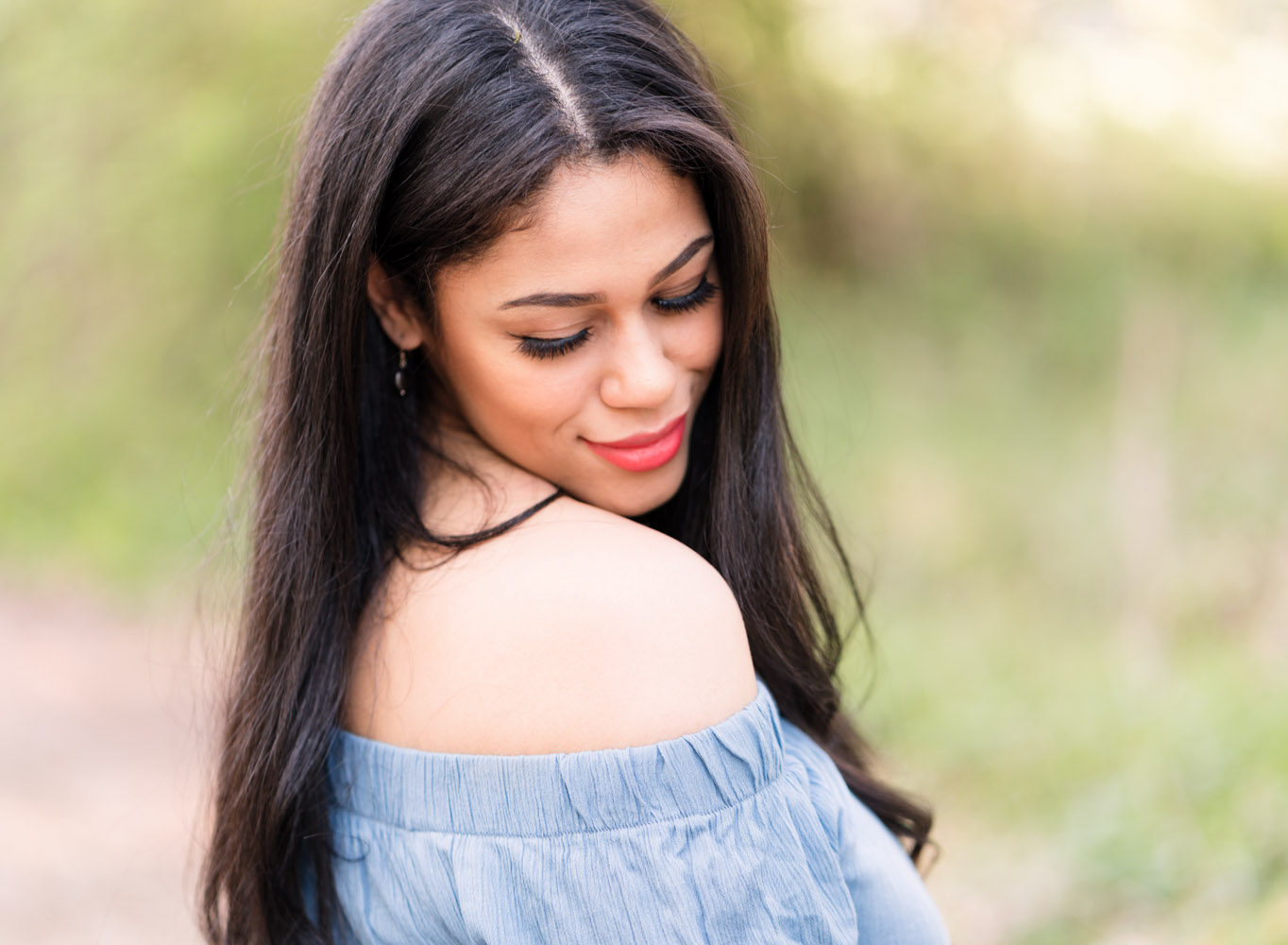 kaiserslautern Ramstein KMC Photographer beauty and portrait photography in Reichenbach-Steegen, Rheinland-Pfaly Germany. Beauty Portrait in Spring with beautiful dark hair girl in blue romper close up by Sarah Havens