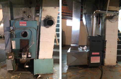 Before and after // Oil furnace conversion
