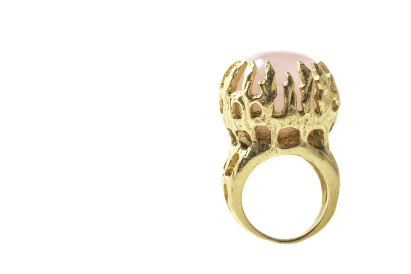 Rose Quartz Talon Ring