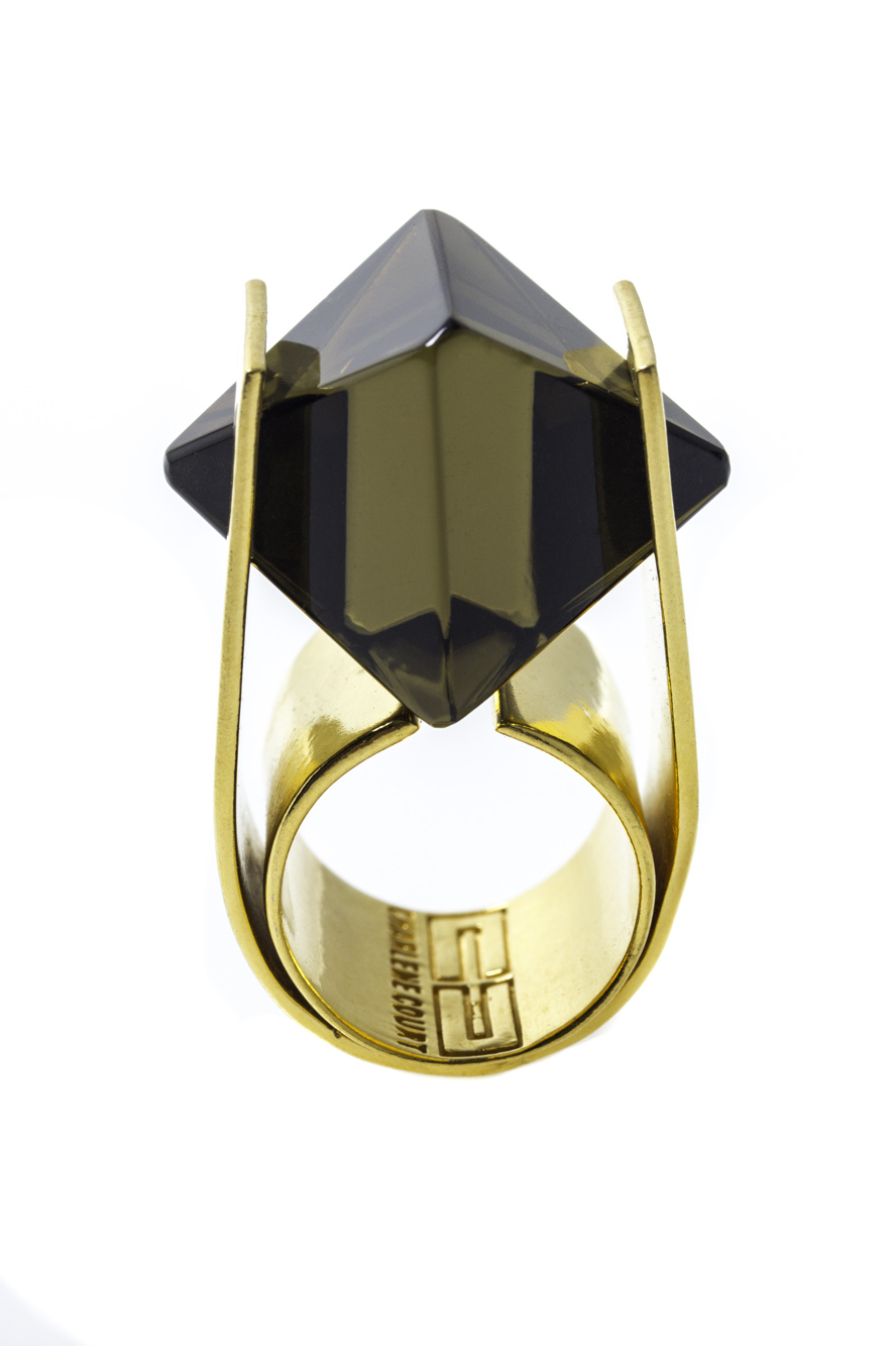 Smoky Quartz Octahedral Ring