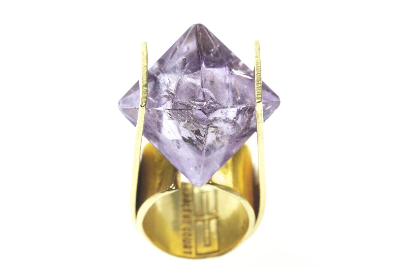 Amethyst Octahedral Ring