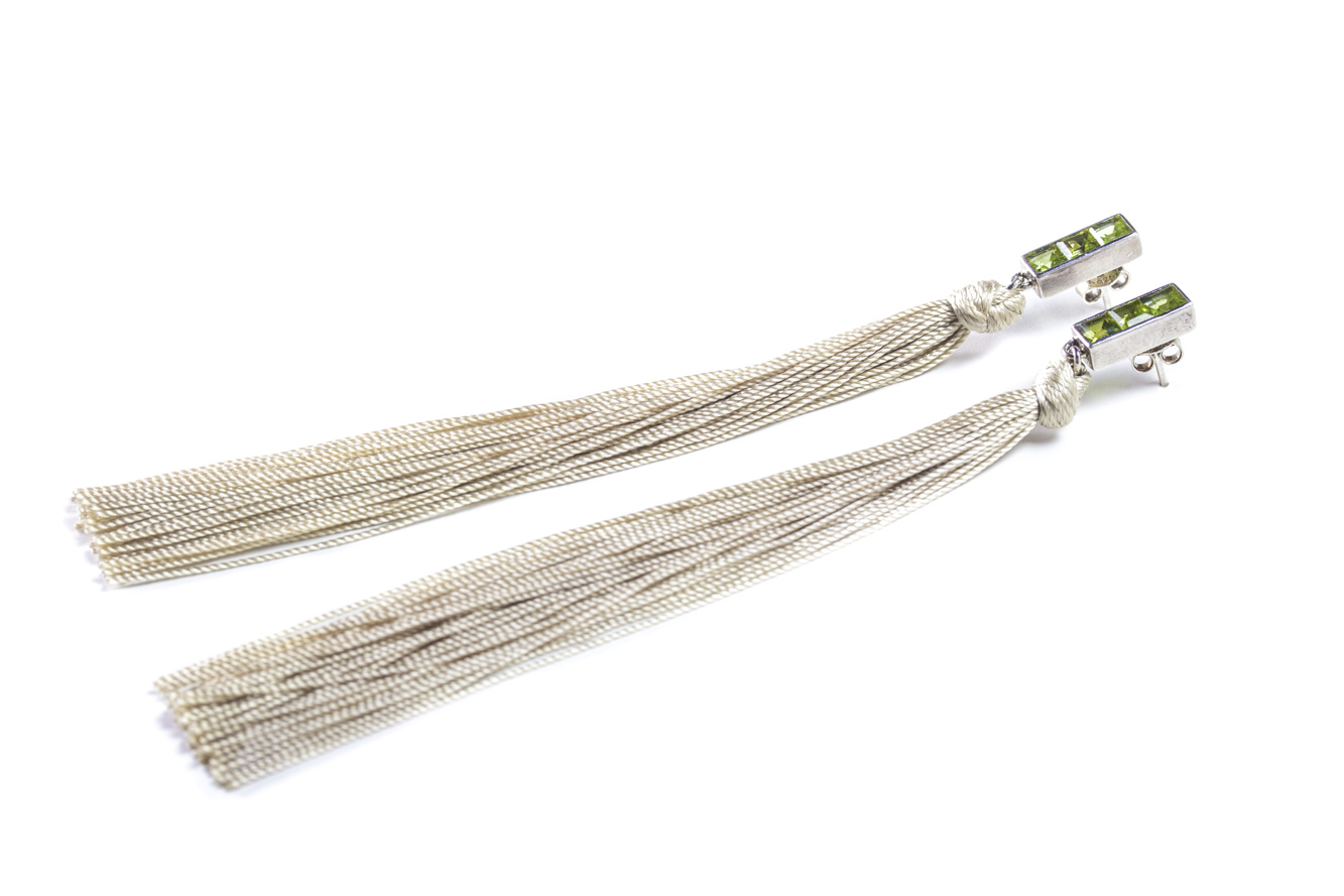 Peridot Tassel Earrings
