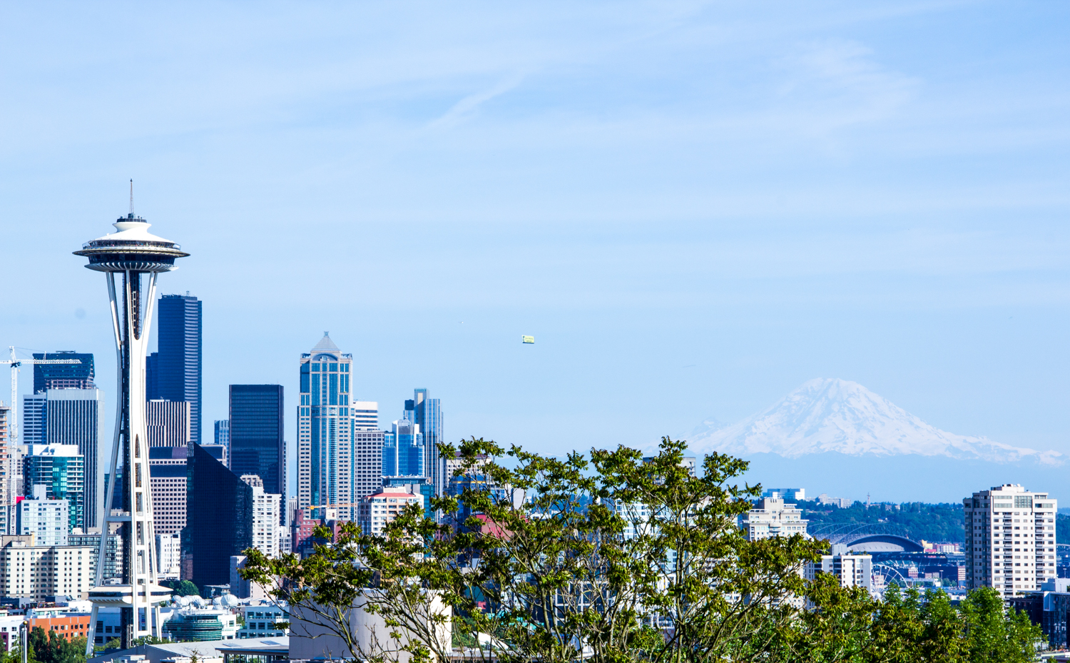 View of downtown Seattle, the Space Needle and Mount Rainier from Kerry Park.