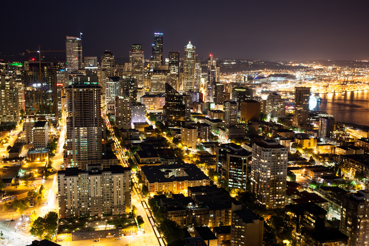 Seattle city lights from the Space Needle observation deck.